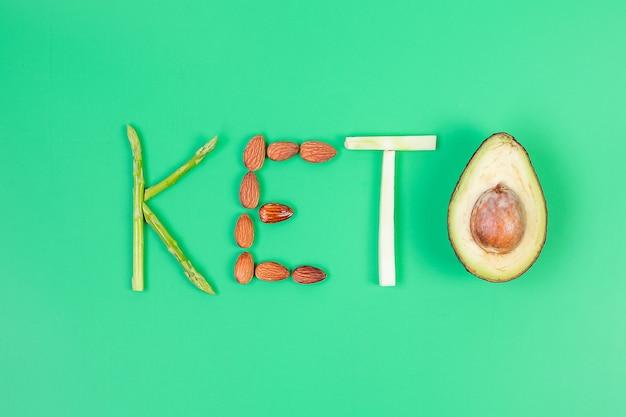 Układ keto organicznych szparagów, migdałów, brokułów i awokado na zielonym tle