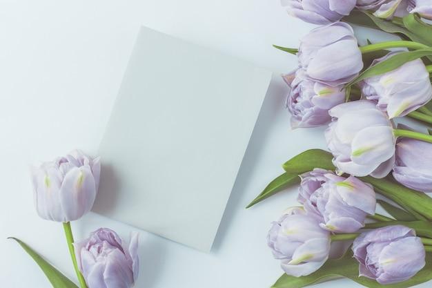 Układ kwiatowy z pąkami tulipanów i liśćmi na zimnym niebieskim tle.