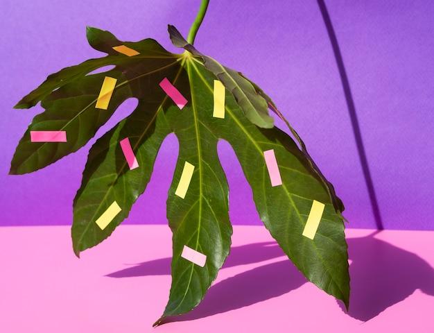 Układ liści kasztanowca z artykułami biurowymi