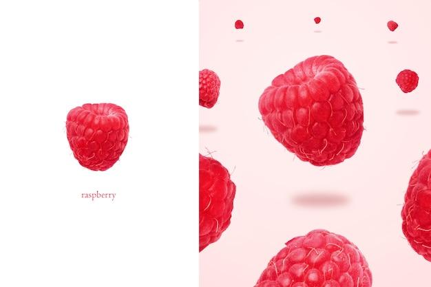 Układ maliny lewitujący na różowym tle, panoramiczny obraz, tło jedzenia z letnimi jagodami. kreatywny minimalizm