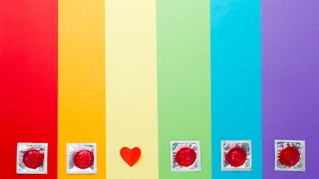 Układ metody antykoncepcji na tle tęczy