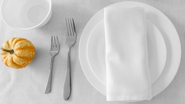 Układ płaski posiłku z miejsca na kopię