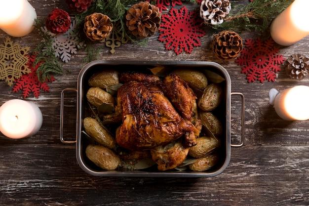 Układ płaski świeckich świątecznych posiłków
