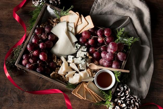 Układ płaski świeckich świątecznych potraw