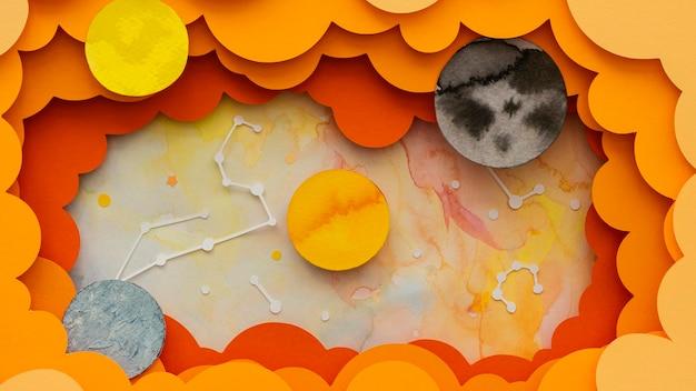 Układ płaskich planet kreatywnych z papieru