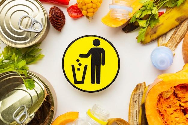 Układ płaskiego symbolu resztek zmarnowanego jedzenia