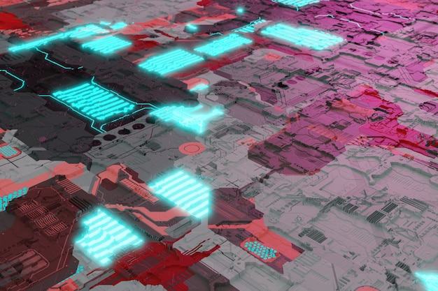 Układ płyty głównej z neonowymi świecącymi elementami płytki drukowanej futurystycznym tłem