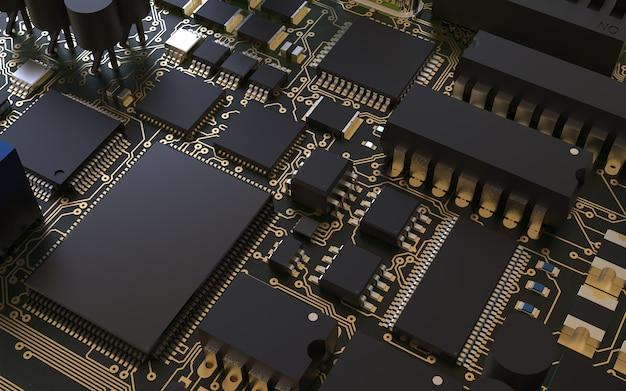 Układ procesora na płytce drukowanej. renderowanie 3d. koncepcja technologii