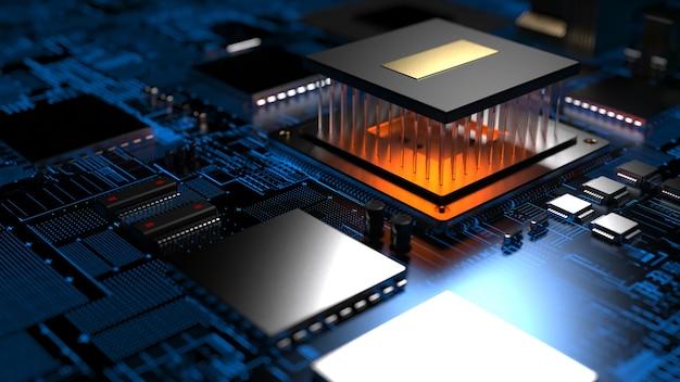 Układ procesora na płytce drukowanej z czerwonym podświetleniem