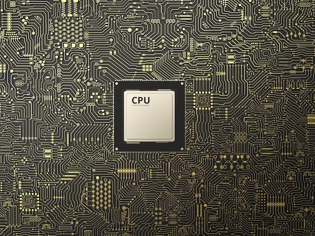Układ procesora renderowania 3d na tle płytki drukowanej