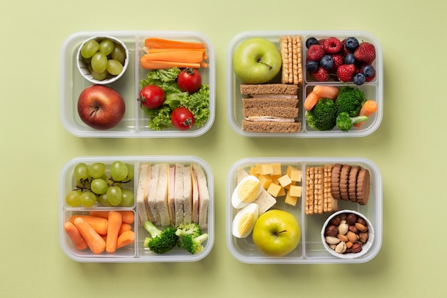 Układ pudełek na lunch, widok z góry