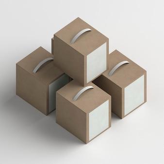 Układ pudełek produktów pod wysokim kątem