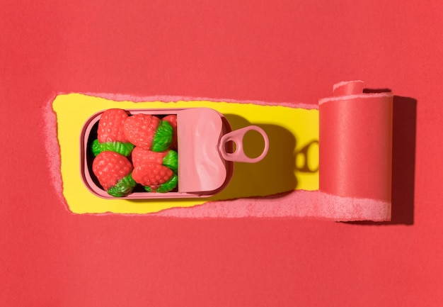 Układ pysznych cukierków z widokiem z góry