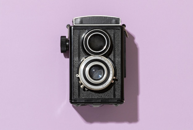 Układ retro czarny aparat
