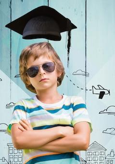 Układ słońce mężczyzna edukacja szkolna