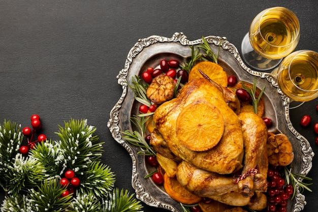 Układ świąteczny posiłek z miejsca na kopię