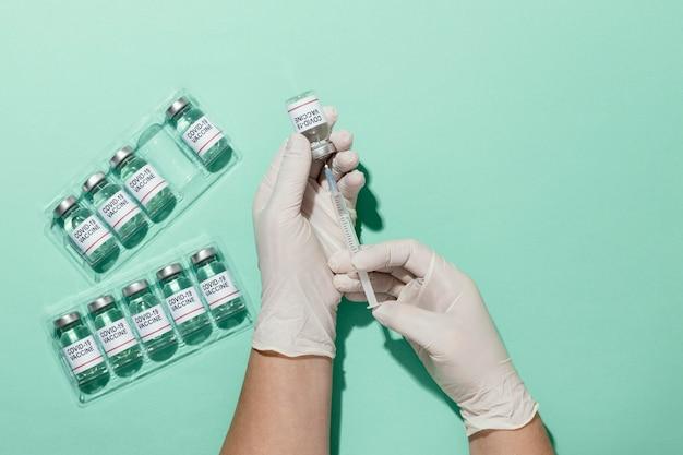 Układ szczepionek z widokiem z góry