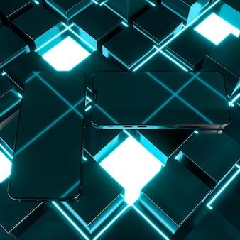 Układ telefonów w świecącym świetle pod dużym kątem