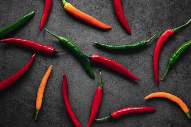 Układ widok z góry papryki chili