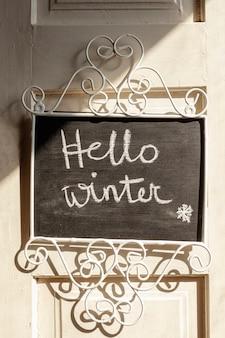 Układ z witaj zimowy znak