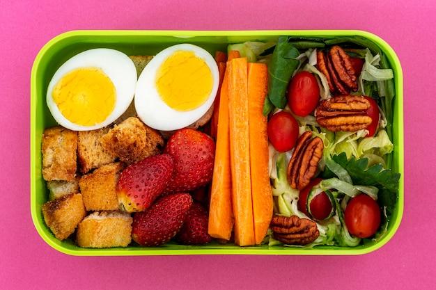 Układ zdrowej żywności pakowanej na płasko