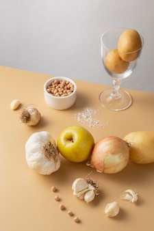 Układ zdrowej żywności pod wysokim kątem