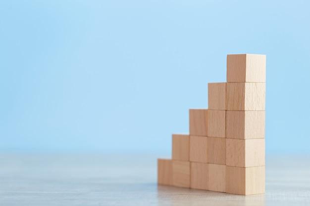 Układanie drewnianych bloków w kroki, koncepcja sukcesu wzrostu biznesu