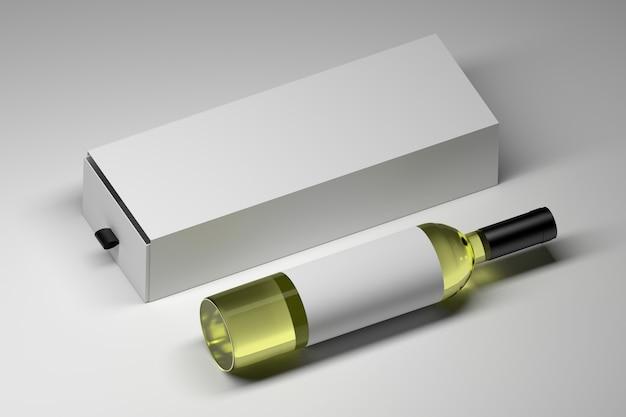 Ukośne ułożenie jednej butelki wina z białym pustym długim pudełkiem upominkowym