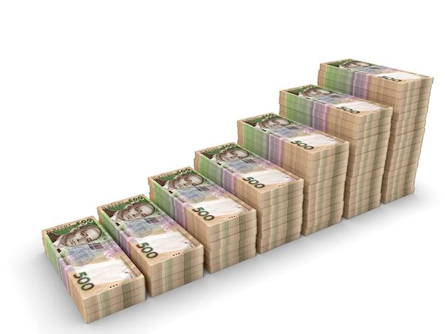 Ukraiński hrywna pieniądze na białym tle