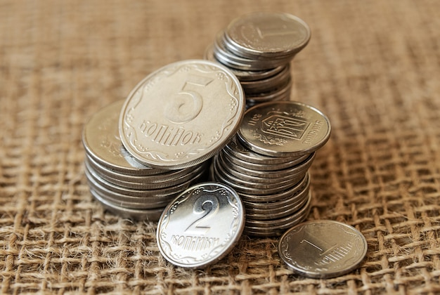 Ukraińskie małe monety na płótnie
