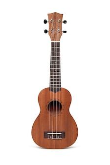Ukulele, brązowa gitara. pojedynczo na białym tle