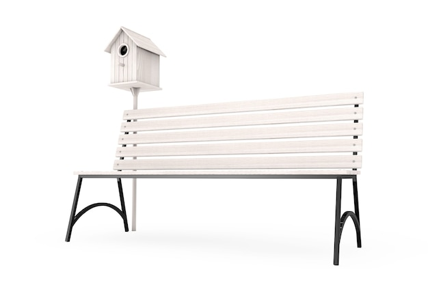 Ulica ławka z drewnianą birdhouse na białym tle. renderowanie 3d.