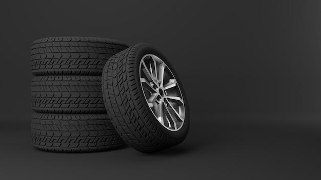 Ułożone koła samochodów sportowych na czarnym tle
