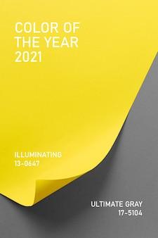 Ultimate grey i illuminating kolory roku 2021. paleta trendów kolorystycznych. stylowe tło