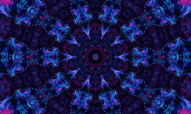 Ultra fioletowe tło, tropikalne kwiaty bugenwilli z efektem kalejdoskopu, kwiatowy wzór mandali.