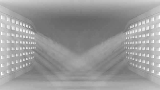 Ultra nowoczesne koncepcyjne puste wnętrze z promieniami światła z okien dla twoich obiektów.