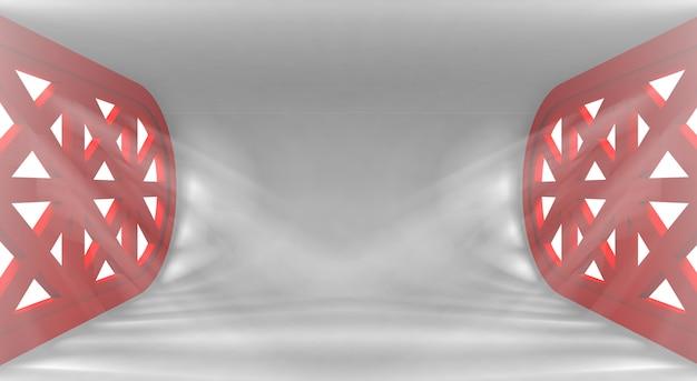 Ultra nowoczesne koncepcyjne puste wnętrze z promieniami świetlnymi z okien na twoje obiekty