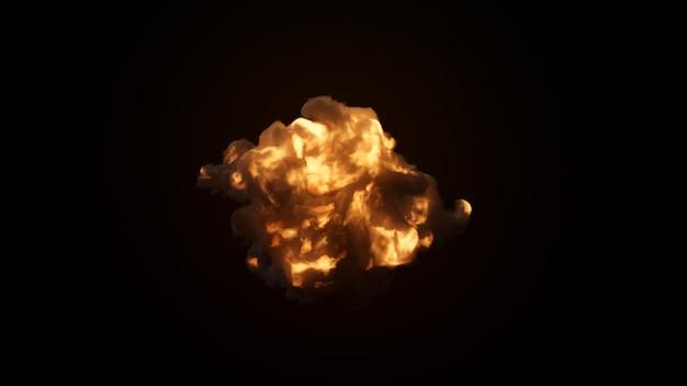Ultra realistyczna eksplozja z gęstym czarnym dymem na odosobnionym czarnym tle