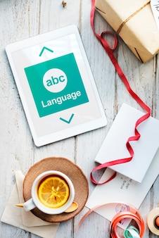 Umiejętność czytania i pisania abc ikona alfabet koncepcja