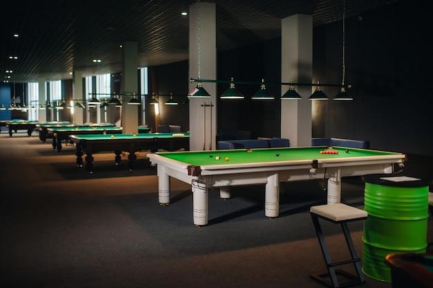 Umiejscowienie bil do snookera na zielonym stole bilardowym