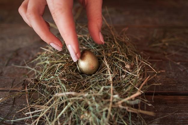 Umieszczenie jednego złotego jajka w gnieździe ze słomy