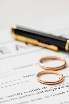 Umowa rozwodowa z obrączkami ślubnymi