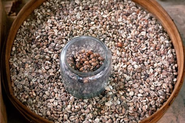 Umyte i niemyte ziarna kawy w kawie luwak farm bali indonezja