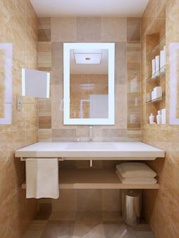 Umywalka i lustro we współczesnej łazience.