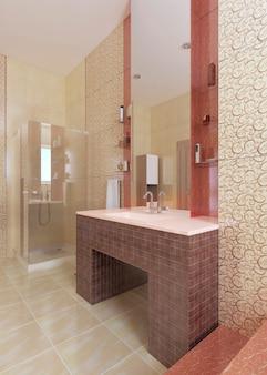Umywalka łazienkowa, wykonana z mozaiki bordowej, z dużym lustrem na żółtej ścianie. renderowanie 3d