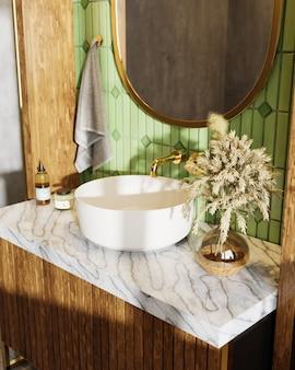 Umywalka w marmurowym blacie z trawą pampa i drewnianą szafką
