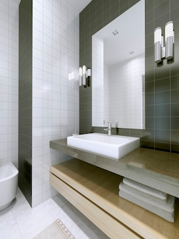 Umywalka z dużym lustrem bez ramek