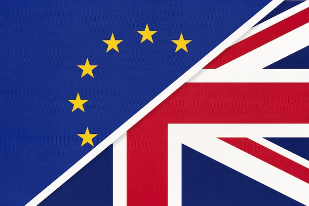 Unia europejska lub ue a flaga wielkiej brytanii lub wielkiej brytanii