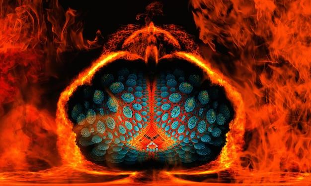 Unikalna ilustracja d, która wygląda jak fantastyczny kwiat lotosu z owoców tropikalnych w zimnym ogniu