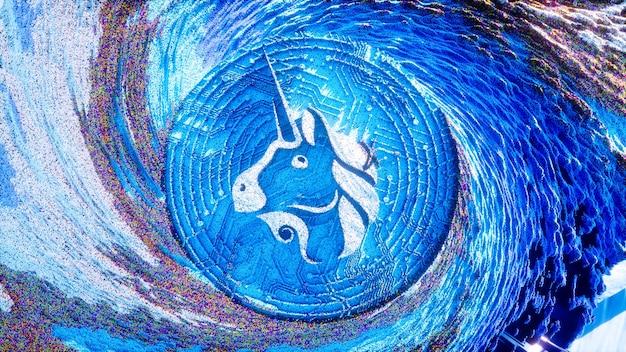 Uniswap logo sztuka cyfrowa. symbol kryptowaluty futurystyczna ilustracja 3d. tło kryptograficzne.